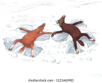 Two Cartoon Horses in a Snow Making Snow Angels. Funny Animal Illustration in Hand Painted Watercolor. Perfect for Card, Greeting Card, Poster, and Children Illustration and Decoration.