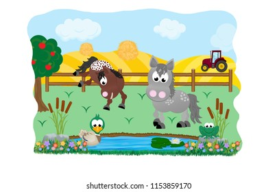 Two cartoon horses standing in a field in front of a pond with a cute duck and frog with a tractor in a hay field in the background.
