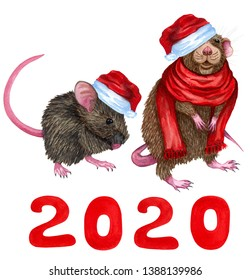 d3be75877d3be Two Cartoon Little Mouse in a red scarf and red christmas hat with number  2020.