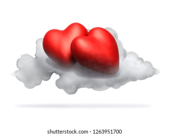 two cartoon red hearts resting above a cloud, isolated on white 3d illustration