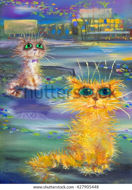 Two cats and evening cityscape