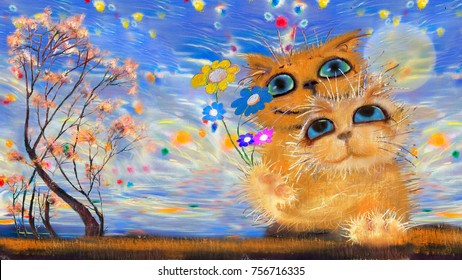Two cats with the flowers near the shore
