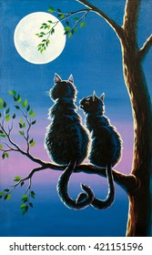 two cats in love looking at the moon, valentines day mood, cats on a tree with heart shape tail, romantic scene