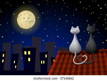 Two cats sitting on a roof at night, looking at the moon. Their tails create a heart.