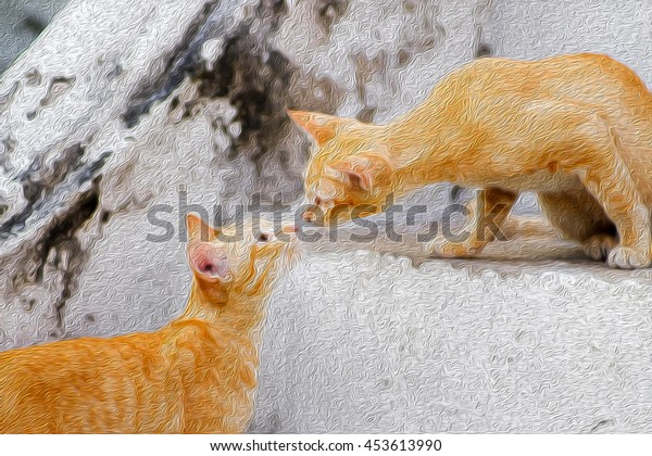 two cats stay close on the ladder with oil painting effect