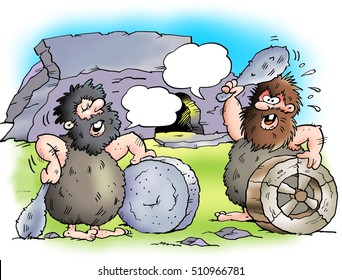 Two cave dwellers with their stone wheels.
