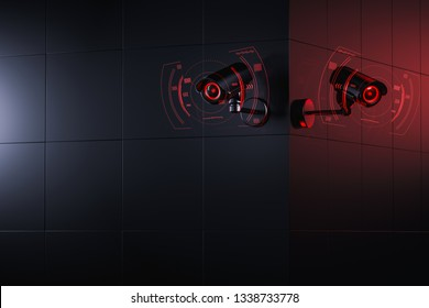Two Cctv cameras are scanning and checking for information about citizen in surveillance security system. Social credit system concept. 3D rendering