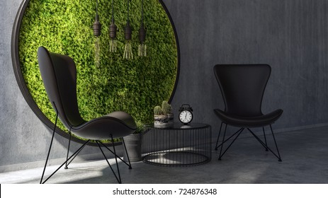 Two chairs with coffee table standing by round moss wall art. 3d Rendering