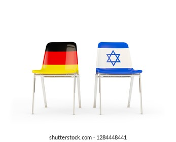 Two chairs with flags of germany and israel isolated on white. 3D illustration