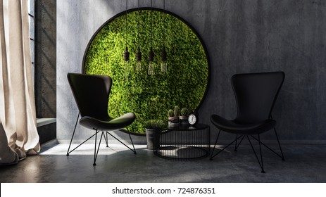 Two chairs with small table standing by round moss wall art. 3d Rendering