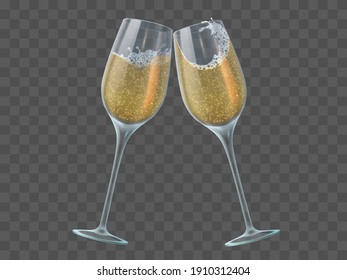 Two champagne glasses. Toast of wineglasses with sparkling transparent white wine and bubbles. Christmas, new year isolated  elements. Champagne wineglass to new year celebration illustration