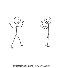 two cheerful man stick chatting isolated on white background