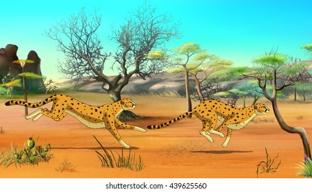 Two Cheetahs hunting in the African savannah. Digital painting  cartoon style full color illustration.