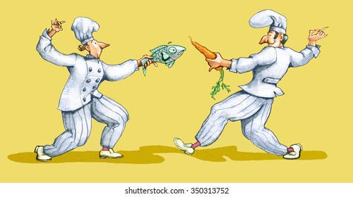 two chefs are fighting a duel with a fish and a carrot yellow version