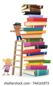Two children with a ladder climbing a stack of books.