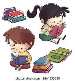 two children reading sitting a lot of books