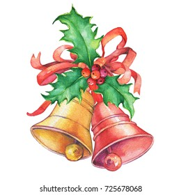 Two Christmas bells with bows and holly. Watercolor hand drawn painting illustration isolated on white background.