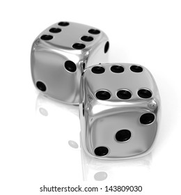 Two chrome casino cubes 3d rendered isolated on the white surface with focus effect