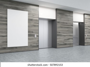 Two closed elevators with buttons in corridor with wooden walls. Vertical poster of elevator size is hanging in the middle. Concept of office center interior. 3d rendering. Mock up.