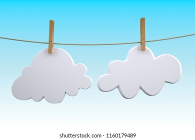 two clouds hanging by clothes peg on a clothesline, 3d illustration