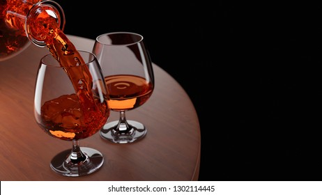 Two cognac glasses with amber-coloured liquid on the round table of fine wood against a black background, one glass full, another one being filled from a decanter. 3D rendering.