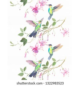 Two colibri hummingbirds in pink flowers watercolor Seamless pattern. Beautiful for textile design, honey spring wedding card. Decorative bird and Floral wreath. Spring blossom Vintage hand painted sk