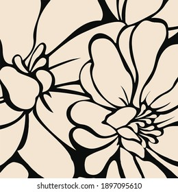 two color bold floral design elements