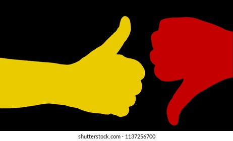 Two colorful silhouette hands making opposite gestures: giving a thumb up and down.