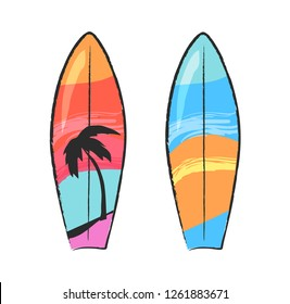 Two colorful surfing boards isolated on white. raster illustration in graphic design of surfboards for floating on water with beach print and palm