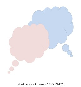Two colorful thought bubbles in white background