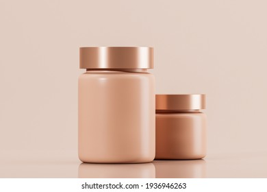 Two cosmetic bottles. Cream or lotion. Blank Label. Pink background. Spa concept. Mockups. Copy space. 3d rendering.