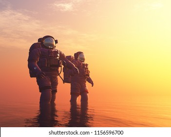 Two cosmonauts in the river..,3d render