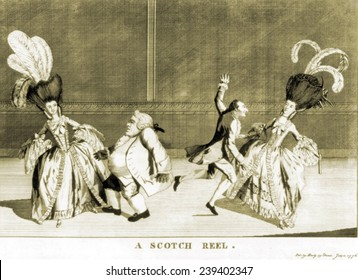 Two couples dancing a Scottish reel. The ladies wear the monstrous feathered coiffures then fashionable. ca.1775.