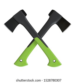 Two crossed axe on the white background. Axe with Fibreglass Handle. Lumberjack ax. Axe tool.  3D rendering illustration