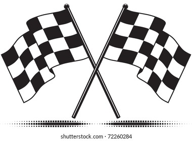 Two crossed checkered flags. Black and white design (gradient free).  Isolated with optional ground shadow.