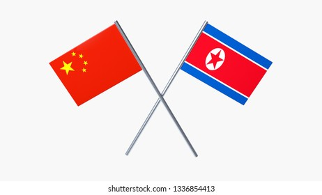 Two Crossed Flags - China and North Korea Isolated On The White Background - 3D Illustration