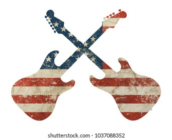 Two crossed guitars shaped old grunge vintage dirty faded shabby distressed American US national flag isolated on white background