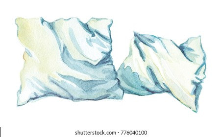 Two crumpled pillows in white pillow cases. Graphic drawing with watercolor. Isolated on white background