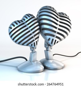 Two cuddling, snuggled up classical metal studio microphones in the shape of hearts on a white reflecting surface, 3d rendering
