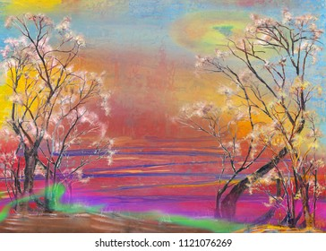 Two curved trees in morning dawn, oil painting artwork