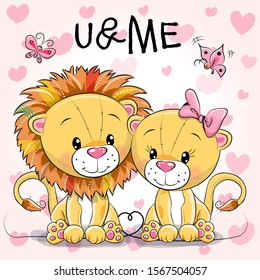 Two cute Cartoon Lions on a hearts background