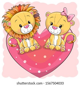 Two cute Cartoon Lions is sitting on a heart