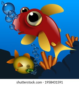 Two cute cartoon style fish swimming in he sea with bubbles. Digital Illustration
