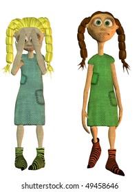 two cute cloth doll