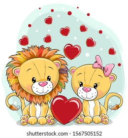 Two Cute lions with hearts on a blue background