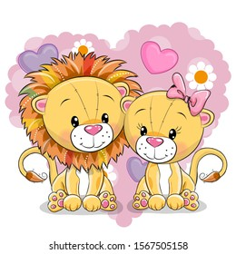 Two cute Lions on a background of heart