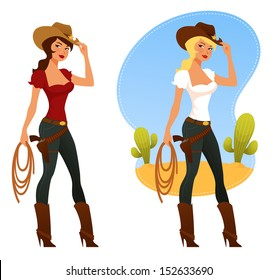 two cute rodeo girls with lasso and cowboy hat