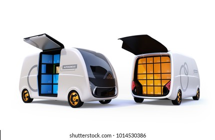 Two delivery vans isolated on white background with doors opened. 3D rendering image.
