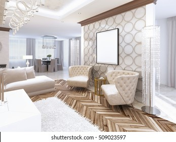 Two designer leather armchairs from the interior walls in the living room-style art Deco. Wall with decorative circles and the picture on it. 3D render.