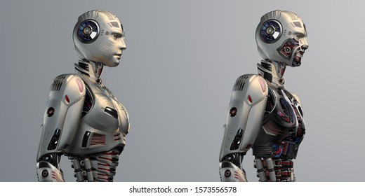 Two detailed futuristic robots or humanoid cyborgs standing with and without armor parts. Side view of the upper body. Isolated on color background. 3d render